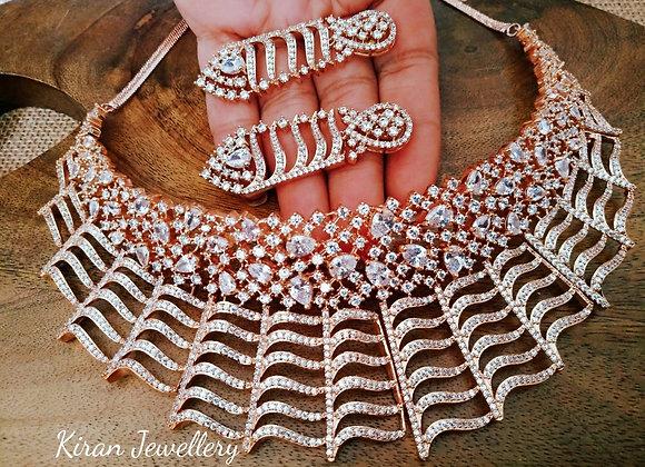 RoseGold Polish American Diamond Necklace