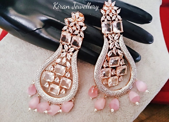 Elegant Earrings In Pink Stone