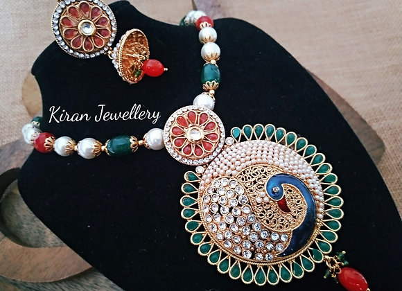 Traditional Necklace With Peacock Design