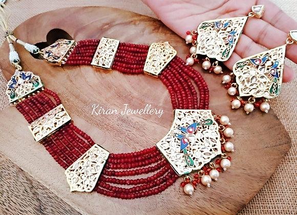 Ruby Color Peacock Kundan Set