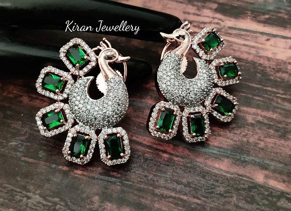 Elegant Green Peacock Earrings