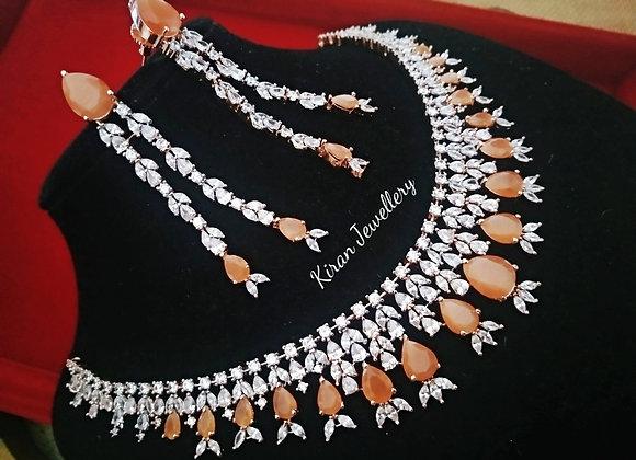Orange Stone Necklace Set