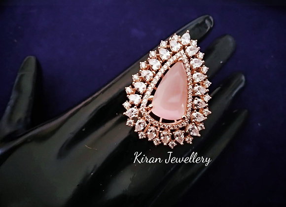 Pink Stone AD Ring