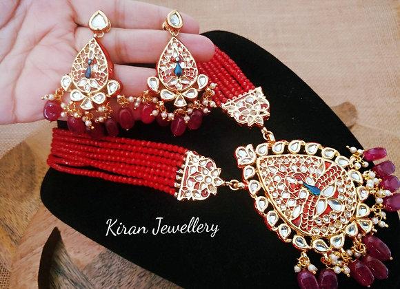 Ruby Mala Peacock Pendant Set