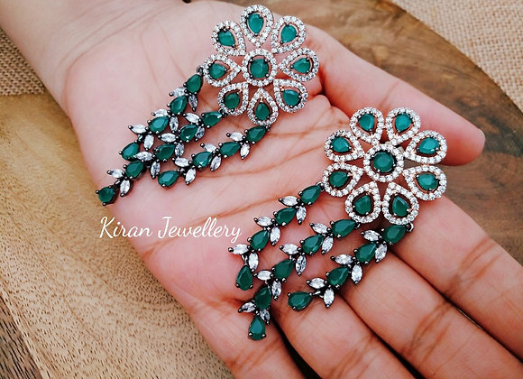 Green Colored Stone Royal Earrings