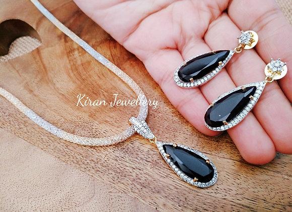 Black Stone Pendant With Chain