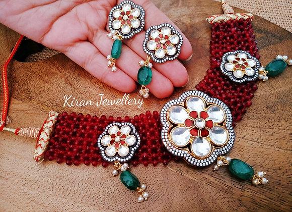 Red Mala Oxidized Pendant Elegant Mala Set