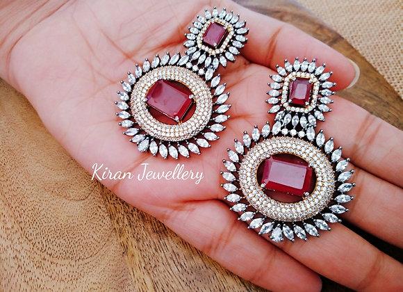 Ruby Stone Beautiful Earrings