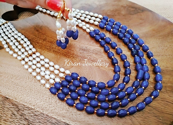 Blue and White Pearl Mala