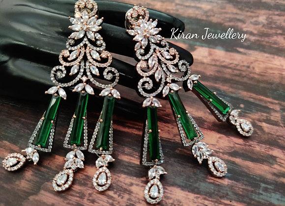 Green Stone Stylish Earrings