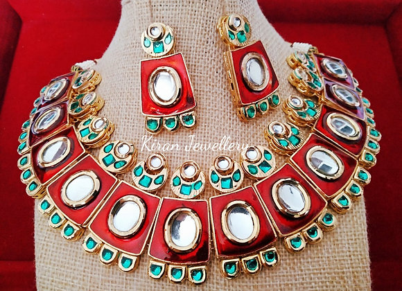 Ruby Green Meena Stylish Kundan Set