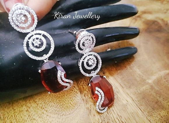 Ruby Stone Stylish Earrings