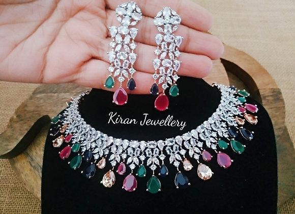 Multicolor AD Necklace