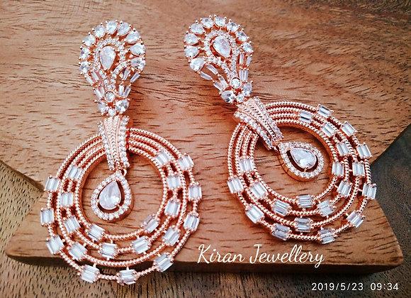Rose Gold Polish White Earrings