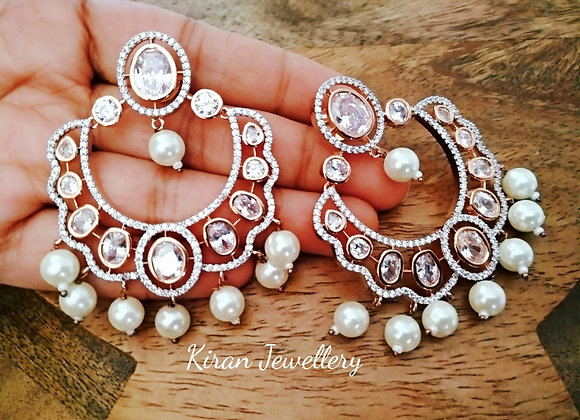 White Pearl Rosegold Polish Chandbali