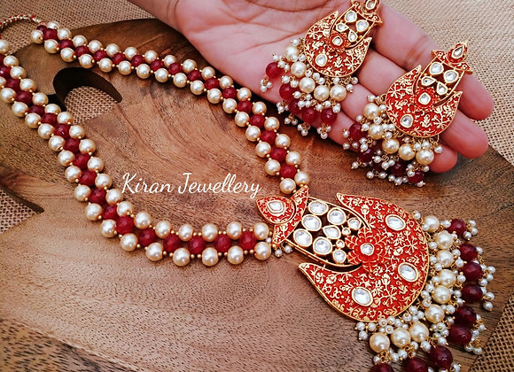 Ruby Color Mala Set With Kundan Stones