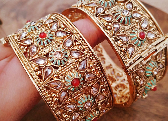 Traditional Bangles With Ruby Stone and Green Meena