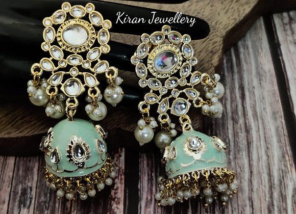 Mint Meena Kundan Earrings