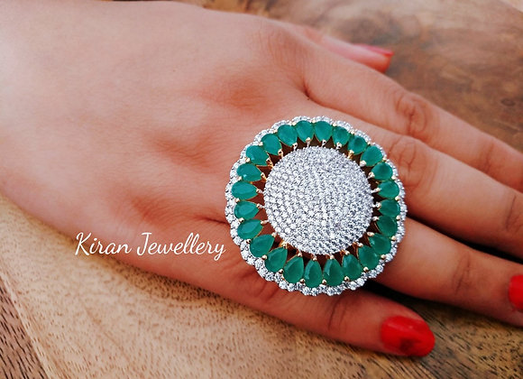 Green Color Cocktail Ring