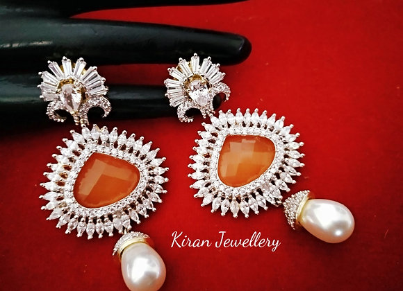Orange Color Beautiful Earrings