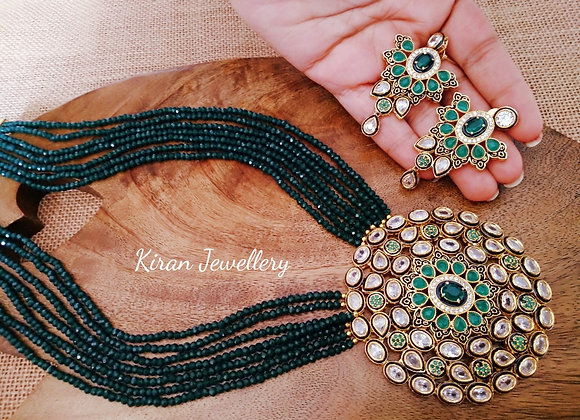 Inverted AD Green Mala Necklace Set