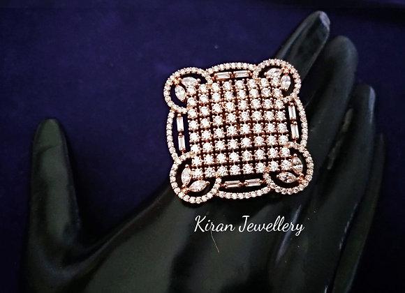 Square Shaped RoseGold Polish Ring