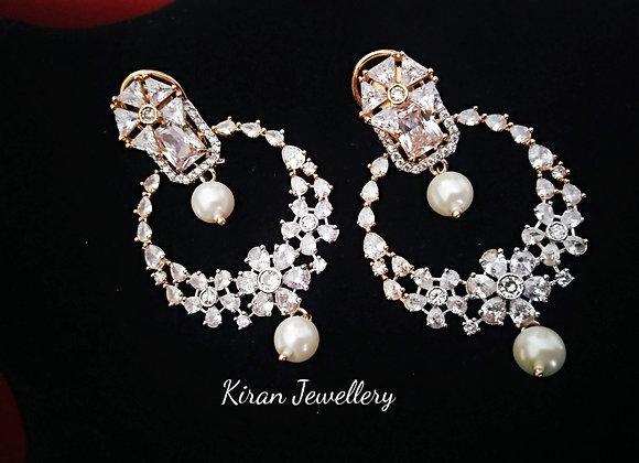 White Stone Elegant Earrings