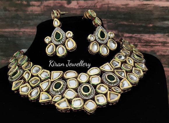 Elegant Green Kundan Necklace