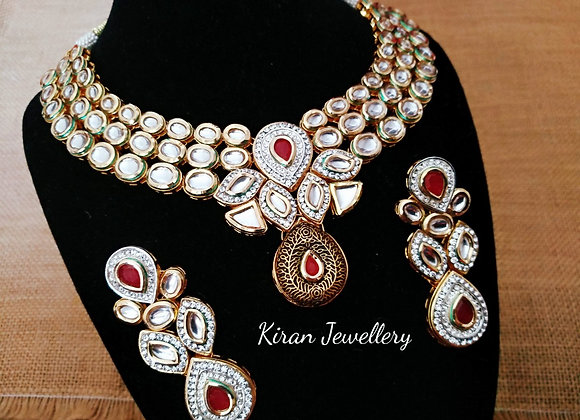 Kundan Necklace with Ruby Stone