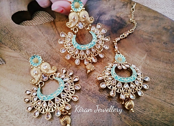 Earrings Mangtikka Combo With SeaGreen Meena