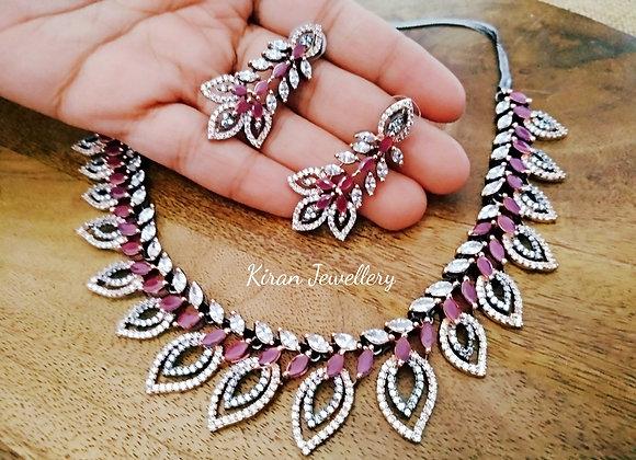 Oxidized Ruby Necklace Set