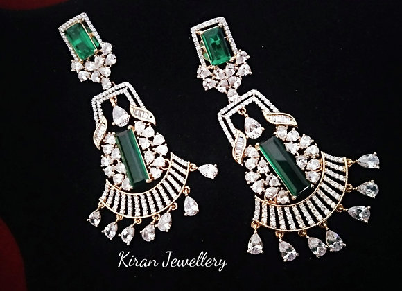 Green Color AD Earrings