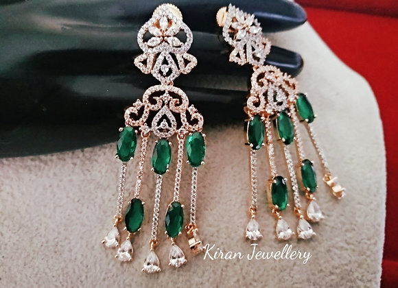 Elegant Earrings In Green Stone