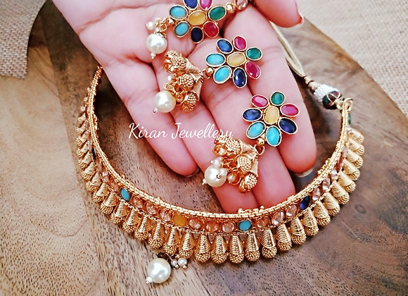 Multicolor Polki Choker Necklace