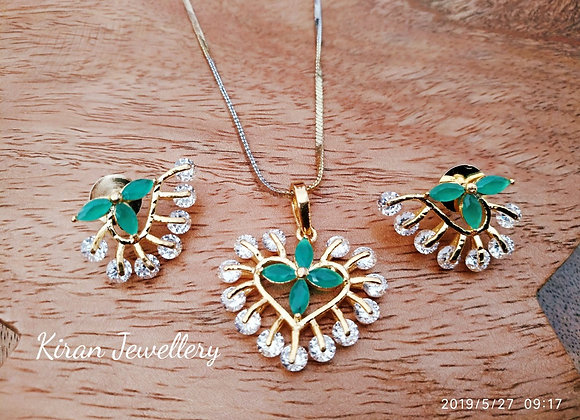 Office Wear Flower Shaped Green Pendant Set