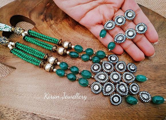 Green color Oxidized Look Kundan Necklace