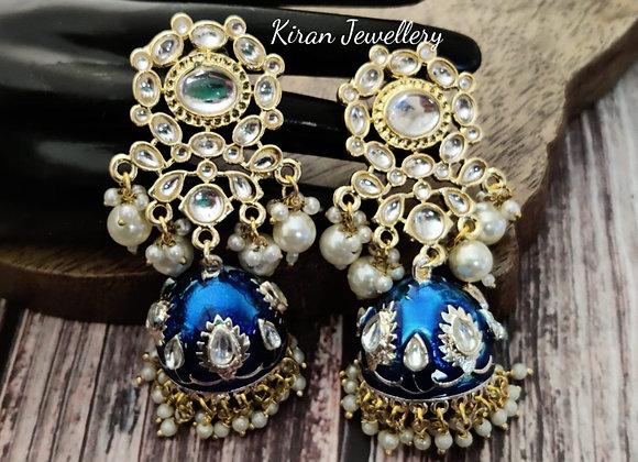 Blue Meena Kundan Earrings