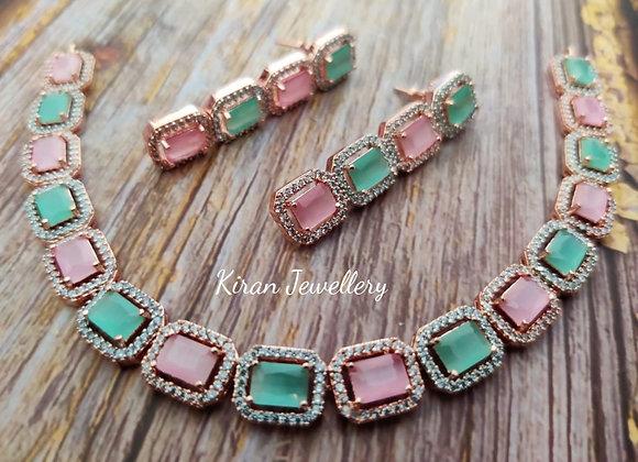 Pink-Mint Stone Elegant Necklace