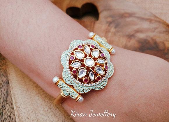 Mint Meena Kundan Bracelet