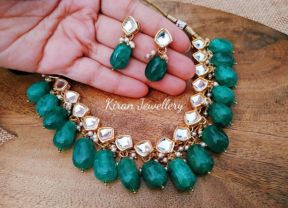 Green Pearl Single Line Kundan Set