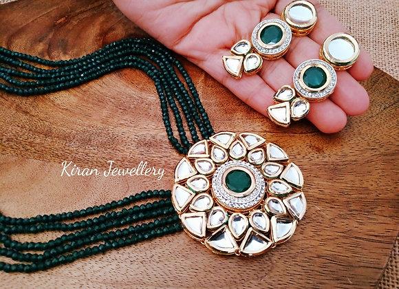 Green Mala Kundan Set