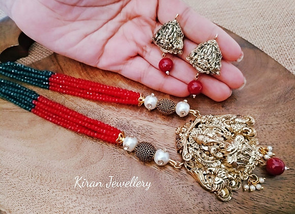 Temple Jewellery With Red Crystal Mala