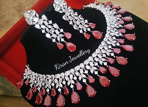 White Polish Ruby Colored Stone Necklace