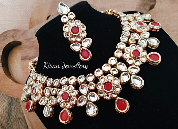 Ruby Colored Kundan Necklace