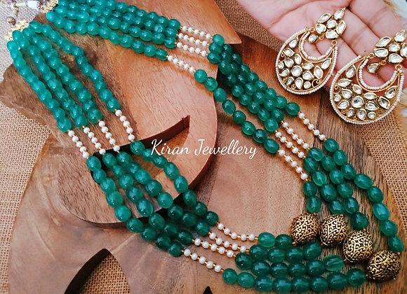 Green Color Kundan Necklace