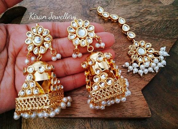 Kundan Earrings mangtikka Combo