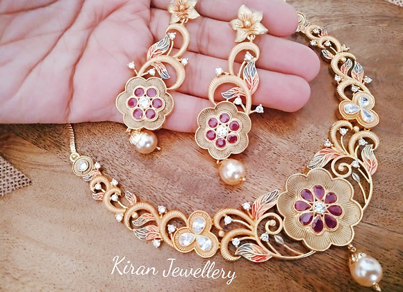 Stylish Necklace with Meena Necklace