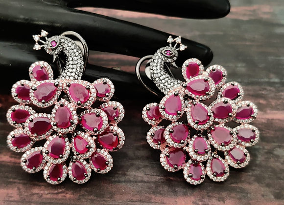 Ruby Stone Peacock Earrings