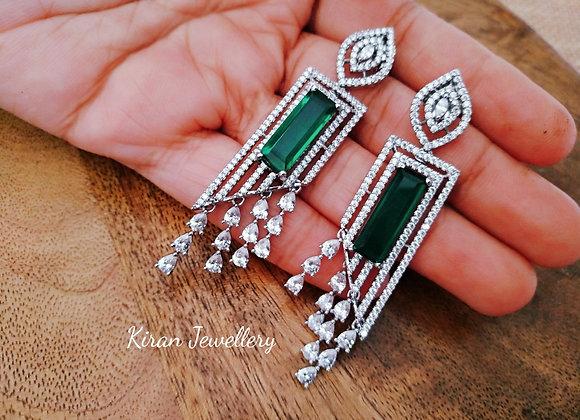 White Polish Green Stone Earrings