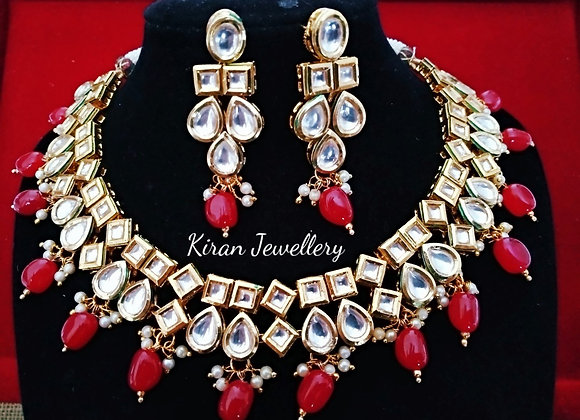 Ruby Color Kundan Necklace